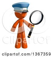 Clipart Of An Orange Mail Man Wearing A Hat Searching With A Magnifying Glass Royalty Free Illustration