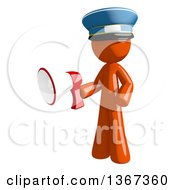 Clipart Of An Orange Mail Man Wearing A Hat Holding A Megaphone Royalty Free Illustration