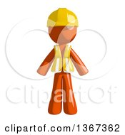 Clipart Of An Orange Man Construction Worker Royalty Free Illustration