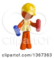 Clipart Of An Orange Man Construction Worker Holding Pills Royalty Free Illustration