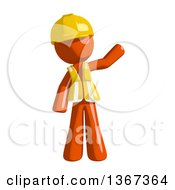 Clipart Of An Orange Man Construction Worker Waving Royalty Free Illustration