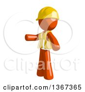 Clipart Of An Orange Man Construction Worker Presenting To The Left Royalty Free Illustration