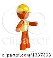 Clipart Of An Orange Man Construction Worker Presenting To The Right Royalty Free Illustration