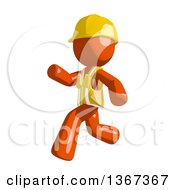 Clipart Of An Orange Man Construction Worker Running To The Left Royalty Free Illustration