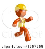 Clipart Of An Orange Man Construction Worker Running To The Right Royalty Free Illustration