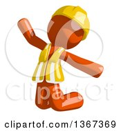 Clipart Of An Orange Man Construction Worker Jumping Or Kneeling And Begging Royalty Free Illustration