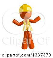 Clipart Of An Orange Man Construction Worker Shrugging Royalty Free Illustration