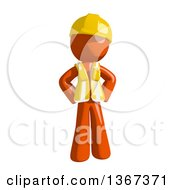 Clipart Of An Orange Man Construction Worker With Hands On His Hips Royalty Free Illustration