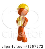 Clipart Of An Orange Man Construction Worker With Hands On His Hips Facing Left Royalty Free Illustration