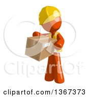 Clipart Of An Orange Man Construction Worker Holding A Box Royalty Free Illustration