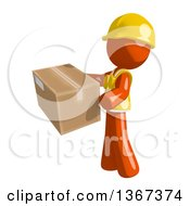 Clipart Of An Orange Man Construction Worker Holding A Box Facing Left Royalty Free Illustration
