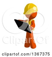 Clipart Of An Orange Man Construction Worker Using A Tablet Computer Royalty Free Illustration