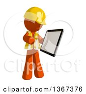 Orange Man Construction Worker Using A Tablet Computer