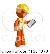 Orange Man Construction Worker Reading On A Smart Phone