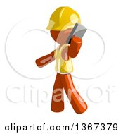 Clipart Of An Orange Man Construction Worker Talking On A Smart Phone Royalty Free Illustration