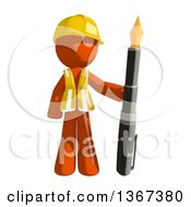 Orange Man Construction Worker Standing With With A Fountain Pen