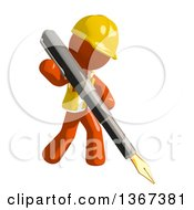 Clipart Of An Orange Man Construction Worker Writing With A Fountain Pen Royalty Free Illustration