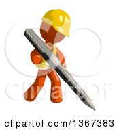 Clipart Of An Orange Man Construction Worker Writing With A Pen Royalty Free Illustration