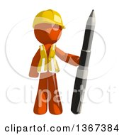 Orange Man Construction Worker Standing With A Pen