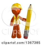 Clipart Of An Orange Man Construction Worker Standing With A Pencil Royalty Free Illustration