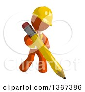 Clipart Of An Orange Man Construction Worker Writing With A Pencil Royalty Free Illustration by Leo Blanchette