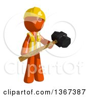 Clipart Of An Orange Man Construction Worker Holding A Sledgehammer Royalty Free Illustration by Leo Blanchette