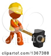 Clipart Of An Orange Man Construction Worker Swinging A Sledgehammer Royalty Free Illustration by Leo Blanchette