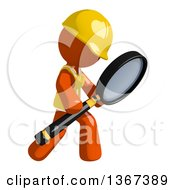 Clipart Of An Orange Man Construction Worker Using A Magnifying Glass Royalty Free Illustration