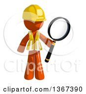 Clipart Of An Orange Man Construction Worker Holding A Magnifying Glass Royalty Free Illustration