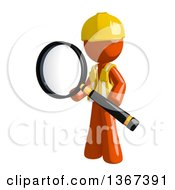 Orange Man Construction Worker Holding A Magnifying Glass