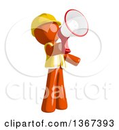 Clipart Of An Orange Man Construction Worker Using A Megaphone Royalty Free Illustration by Leo Blanchette