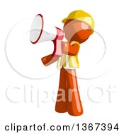 Clipart Of An Orange Man Construction Worker Using A Megaphone Royalty Free Illustration