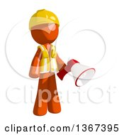 Clipart Of An Orange Man Construction Worker Holding A Megaphone Royalty Free Illustration