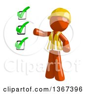 Clipart Of An Orange Man Construction Worker Presenting A Check List Royalty Free Illustration