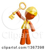 Clipart Of An Orange Man Construction Worker Holding A Skeleton Key Royalty Free Illustration by Leo Blanchette