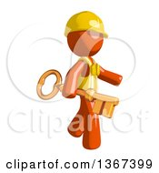 Clipart Of An Orange Man Construction Worker Holding A Skeleton Key Royalty Free Illustration