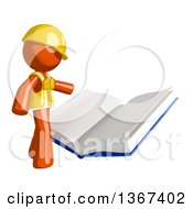 Clipart Of An Orange Man Construction Worker Reading A Giant Book Royalty Free Illustration by Leo Blanchette