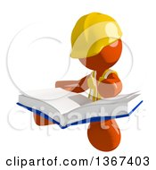 Clipart Of An Orange Man Construction Worker Sitting And Reading A Book Royalty Free Illustration
