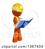 Clipart Of An Orange Man Construction Worker Reading A Book Royalty Free Illustration
