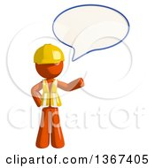 Clipart Of An Orange Man Construction Worker Talking Royalty Free Illustration
