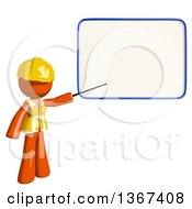 Clipart Of An Orange Man Construction Worker Presenting A Board Royalty Free Illustration