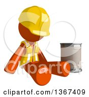 Orange Man Construction Worker Begging And Sitting With A Can