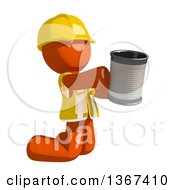 Orange Man Construction Worker Begging And Kneeling With A Can