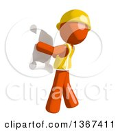 Clipart Of An Orange Man Construction Worker Reading Blueprints Royalty Free Illustration