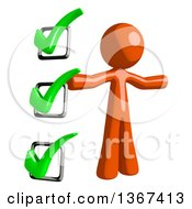 Clipart Of An Orange Man Presenting A Check List Royalty Free Illustration