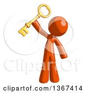 Clipart Of An Orange Man Holding A Skeleton Key Royalty Free Illustration