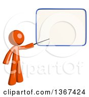 Clipart Of An Orange Man Holding A Pointer Stick Against A White Board Royalty Free Illustration