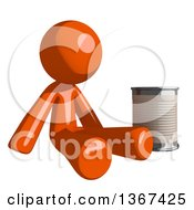 Orange Man Begging And Sitting With A Can