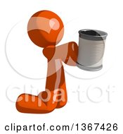 Orange Man Begging And Kneeling With A Can
