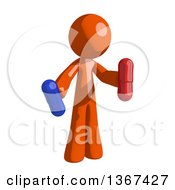 Clipart Of An Orange Man Holding Pills Royalty Free Illustration by Leo Blanchette
